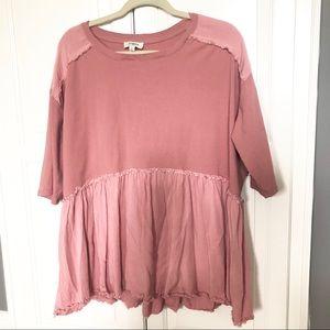 Umgee Mauve Pink Distressed Top